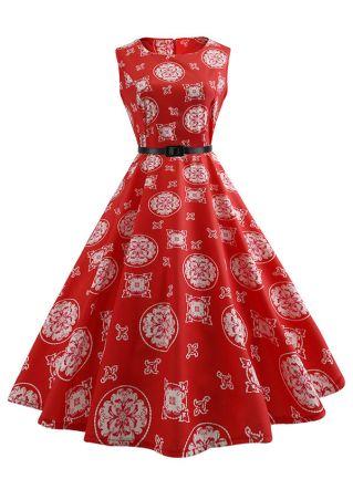 Floral Zipper O-Neck Casual Dress