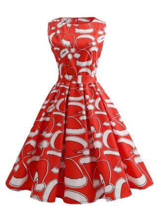 Christmas Santa Hat Sleeveless Casual Dress