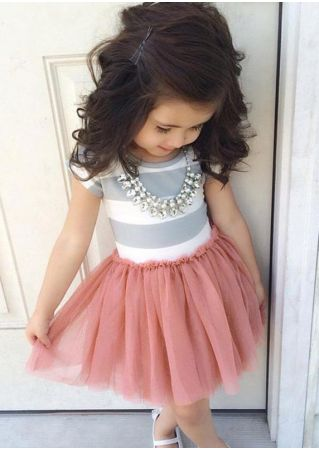 Girls Striped A-Line Sleeveless Mini Tutu Dress