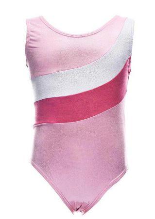 Girls Color Block Dancewear Bodysuit Pink