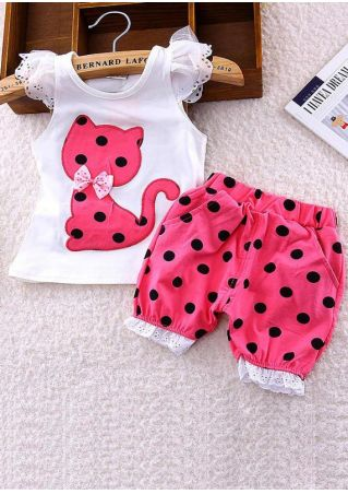 Baby Girls Cat Bow Top and Shorts Set