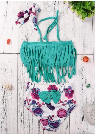 Girls Tassel Swimsuit Bikini & Headband Set