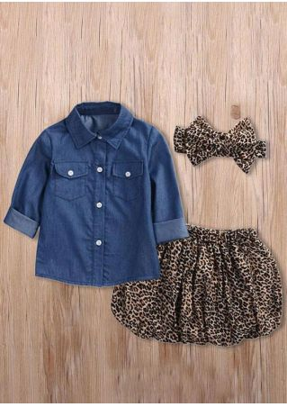 Girls Button Shirt & Leopard Printed Shorts & Headband Set