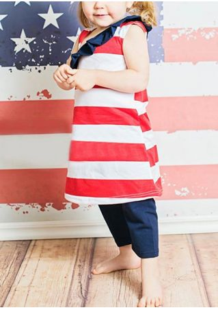 Girls American Flag Printed Striped Flouncing Dress