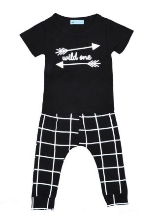Girls Wild One Arrow Top and Plaid Harem Pants Set