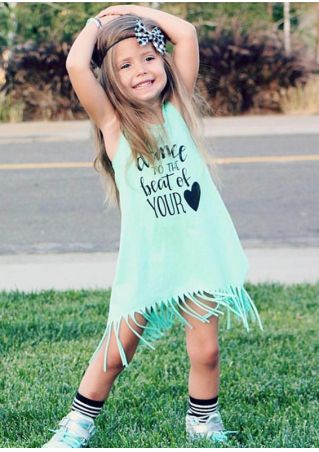 Girls Letter Printed Fringe Sleeveless Dress