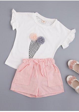 Girls Printed T-Shirt and Shorts Set White