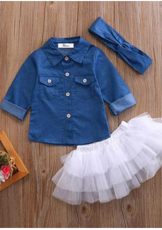 Girls Denim Shirt Tutu Skirt and Hairband Set
