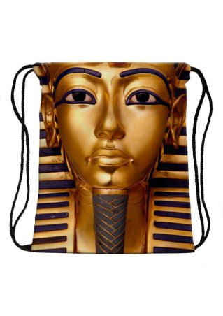 3D Pharaoh Printed Drawstring Backpack Rucksack
