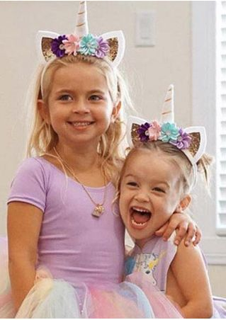 Girls Glitter Unicorn Horn Flower Headband