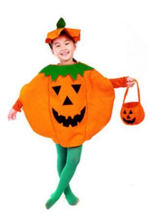 Children Pumpkin Face Top and Cap Set