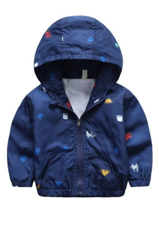 Boys Printed Hooded Outwear Coat Jacket Navy Blue