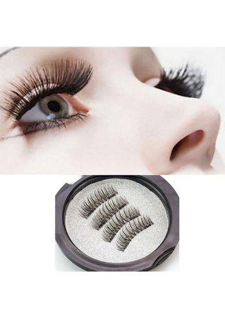 4 Pcs 3D Magnetic Reusable Free Glue False Eyelashes Extension