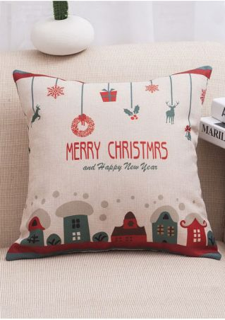 Christmas Cartoon Linen Cushion Pillow Case