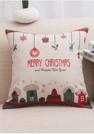 Christmas Cartoon Linen Cushion Pillow Case