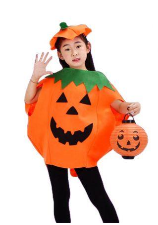 Children Pumpkin Face Top and Accessory Set Orange