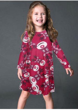 Girls Elk Printed Christmas Dress