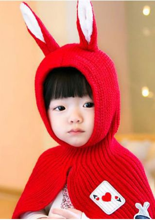 Kids Rabbit Ears Knitted Warm Shawl Hat