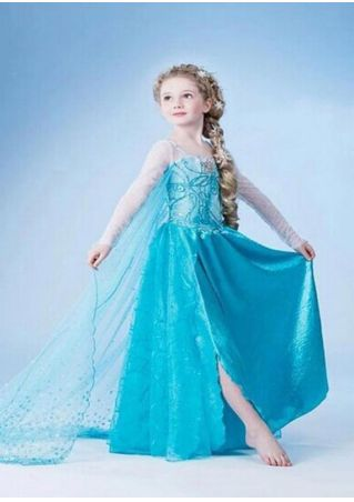 Girls Elsa Anna Cosplay Princess Dress Blue