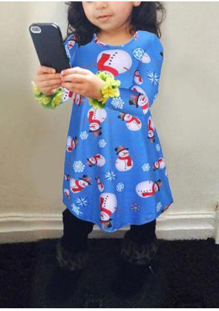 Girls Snowman Snowflake One-Piece Dress