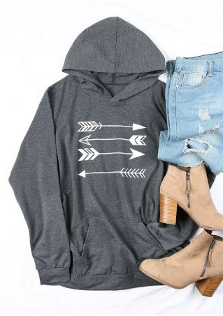 Plus Size Arrow Pocket Long Sleeve Hoodie