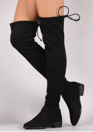 Solid Tie Round Toe Boots
