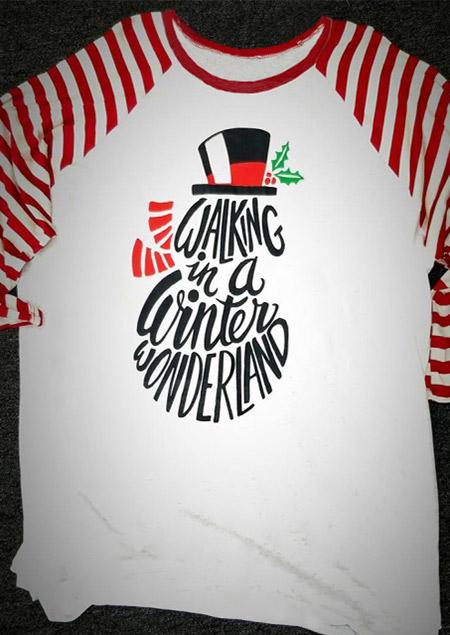 Christmas Walking In A Winter Wonderland Baseball T Shirt