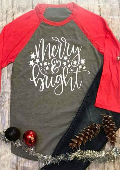 Christmas Plus Size Merry Amp Bright Baseball T Shirt