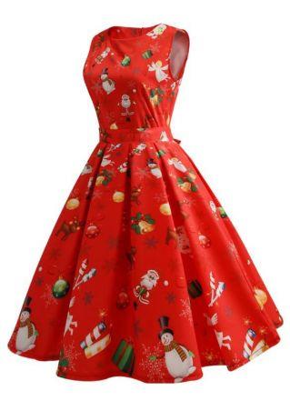 Christmas Santa Snowman Snowflake Casual Dress
