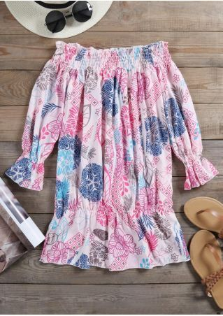 Floral Off Shoulder Three Quarter Sleeve Blouse