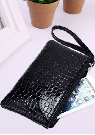 Solid Faux Crocodile Skin Clutch Wallet
