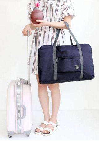 Foldable Travel Zipper Storage Bag Handbag Navy Blue