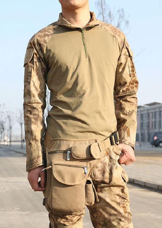 Man Solid Zipper Canvas Waist Bag