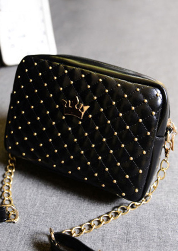 Beading Crown Chain Shoulder Bag