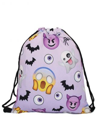 Emoji Ghost Bat Drawstring Bag