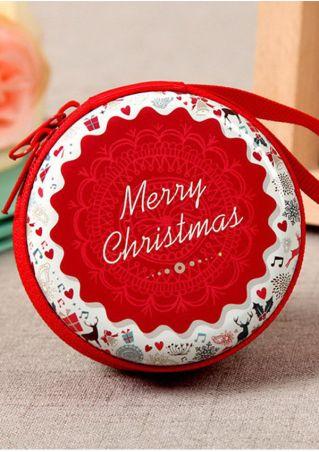 Merry Christmas Zipper Portable Cosmetic Case
