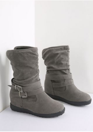 Solid Buckle Strap Boots