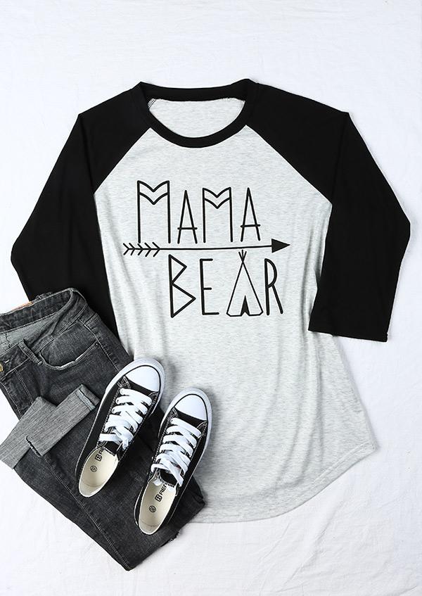 Plus Size Mama Bear Arrow Baseball T Shirt Bellelily
