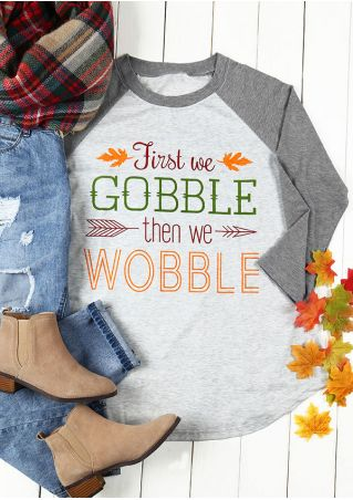 Plus Size First We Gobble Baseball T-Shirt