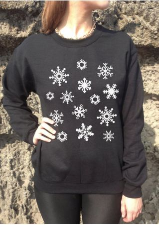 Christmas Snowflake O-Neck Sweatshirt without Necklace
