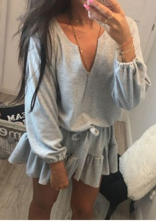 Solid Ruffled Mini Dress without Necklace