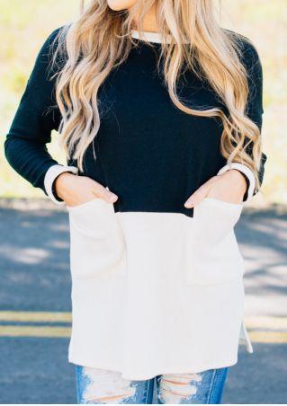 Color Block Pocket Long Sleeve Blouse
