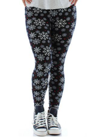 Plus Size Snowflake Elastic Waist Leggings