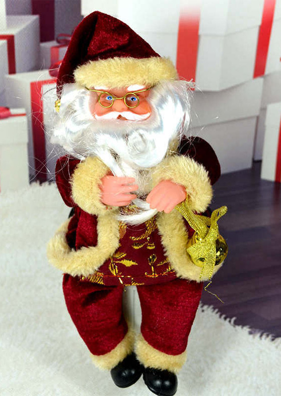 Christmas sitting santa claus doll figurine ornament