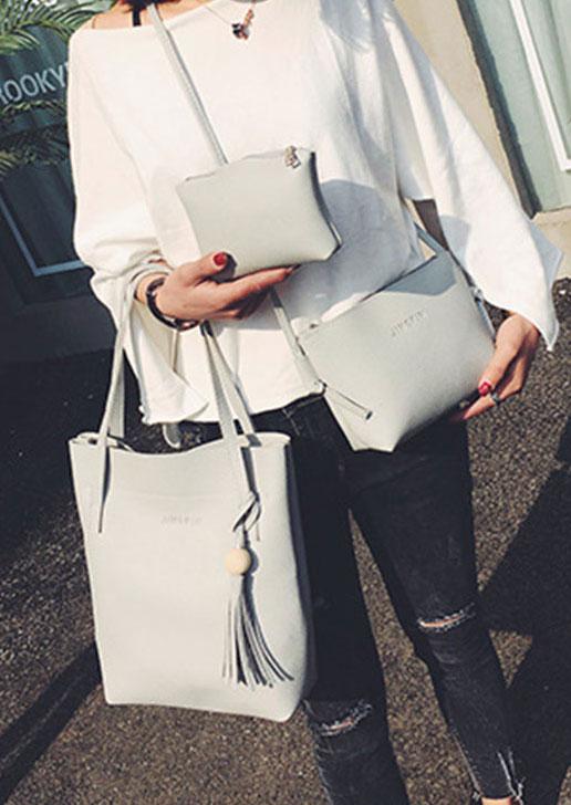 3Pcs PU Tassel Handbag Shoulder Bag Purse Set