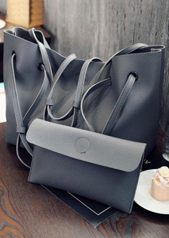 2Pcs Solid PU Handbag Shoulder Bag Purse Set
