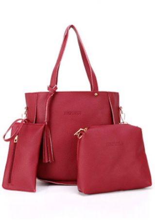 3Pcs Solid Tassel Tote Handbag Purse Bags Set