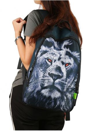 Outdoor 3D Lion Printed Backpack