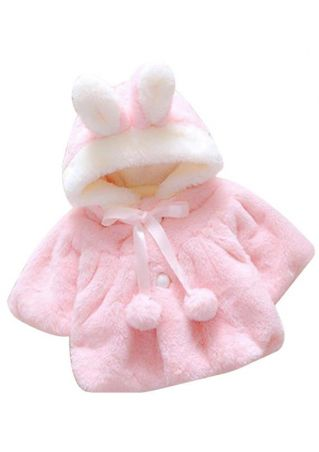 Girls Winter Cute Rabbit Ears Pompon Cloak Coat