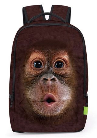 Multifunctional 3D Monkey Printed Backpack